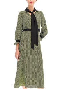 Zwiewna wzorzysta sukienka z szarfą Ella Boo E-20AW-2016