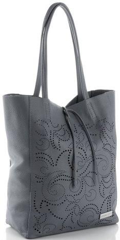 Vittoria Gotti Włoskie Torebki Skórzane typu ShoppeBag z Kosmetyczką w modne wycinane wzory Szare (kolory)