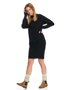 Sukienka swetrowa z bufiastymi rękawami