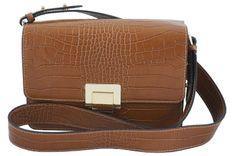 Modna torebka skórzana - CROCO - Brązowa jasna