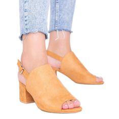 Camelowe sandały na słupku z cholewką Blubbery brązowe