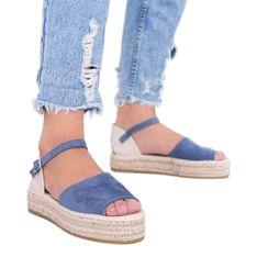 Niebieskie sandały na platformie Pearl River