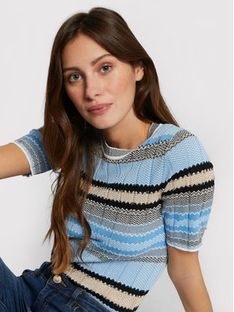Morgan Sweter 211-MOOD Niebieski Slim Fit