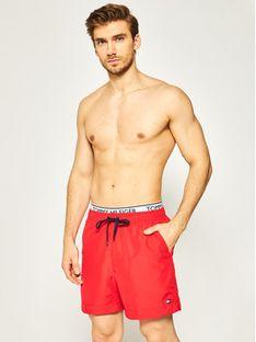 Tommy Hilfiger Szorty kąpielowe Medium Drawstring UM0UM01719 Czerwony Regular Fit