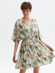 Sukienka z kimonowym rękawem, w roślinny nadruk