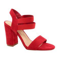 Evento Wygodne Zamszowe Sandały Na Słupku 21SD35-3540 Czerwone