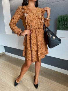 Pomarańczowa Sukienka w Cętki 5471-405-C