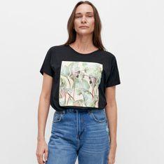 Reserved - T-shirt z bawełny i modalu - Czarny
