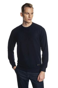 Gładki granatowy sweter Recman BALSA PM