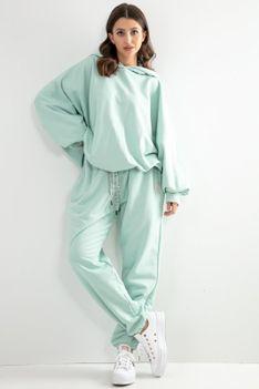 Dresy Bluza Oversize + Spodnie z Wysokim Stanem - Zilelone