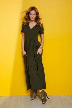 Dzianinowa Maxi Sukienka z Dekoltem V - Khaki