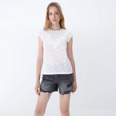 Mohito - Ażurowa bluzka z falbankami - Biały