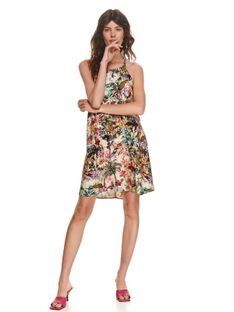 Sukienka typu halter w kolorowy nadruk