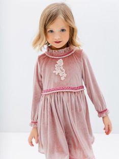 Różowa welurowa sukienka dziecięca Anima by Justyna Steczkowska