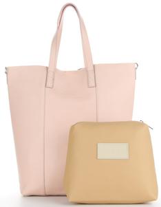 Vittoria Gotti Made in Italy Firmowe Torebki Skórzane Modny Shopper Bag XL na każdą okazję z Kosmetyczką Pudrowy Róż (kolory)