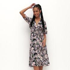 Reserved - Wzorzysta sukienka z wiskozy - Różowy