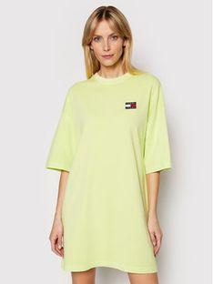 Tommy Jeans Sukienka codzienna Badge Tee DW0DW09916 Zielony Oversize