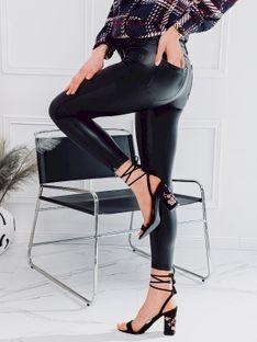 Spodnie damskie woskowane 063PLR - czarne