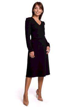 Czarna Sukienka z Trapezowym Dołem z Bufkami