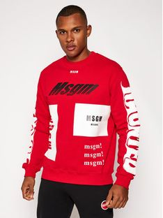 MSGM Bluza 2940MM205 207599 Czerwony Regular Fit