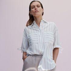 Reserved - Wiskozowa koszula z krótkim rękawem - Kremowy