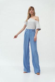 Szerokie Spodnie z Ozdobnymi Patkami - Niebieskie