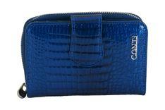 Ekskluzywne portfele damskie lakierowane - Granatowe