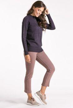 Sweter ze stójką z ozdobnym splotem