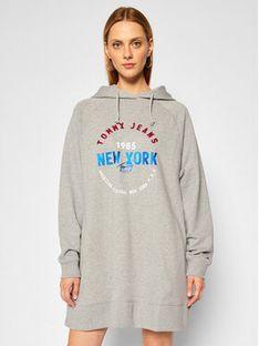 Tommy Jeans Sukienka dzianinowa Tjw Logo DW0DW08464 Szary Regular Fit