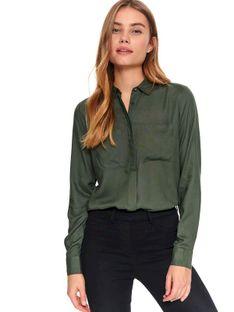 Damska koszula z kieszonkami o luźnym kroju