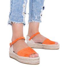 Pomarańczowe sandały na platformie Pearl River
