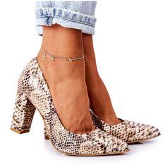 Skórzane Czółenka Z Wężowym Wzorem Lewski Shoes 2453 Złote złoty