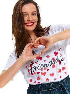 T-shirt krótki rękaw damski  z ćwiekami, z nadrukiem, z koralikami, z perłami, z aplikacją