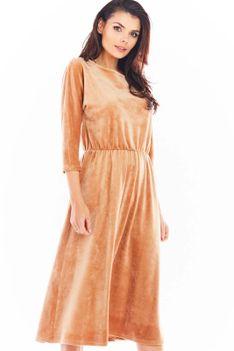 Beżowa Rozkloszowana Midi Sukienka z Weluru