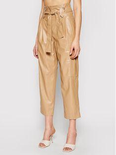 TwinSet Spodnie z imitacji skóry 211TT2024 Brązowy Relaxed Fit