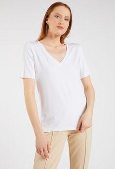 Basicowy t-shirt z dekoltem w serek
