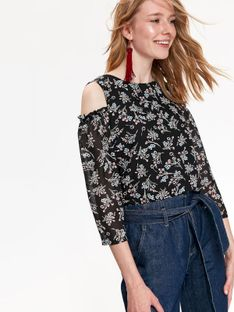 Bluzka długi rękaw damska, cold shoulder, z wiązaniem, w kwiaty