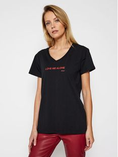 PLNY LALA T-Shirt Love Me Alone PL-KO-VN-00106 Czarny Regular Fit