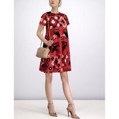 Sukienka Red Valentino na spacer czerwona z okrągłym dekoltem