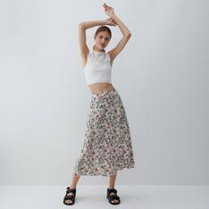 Reserved - Wzorzysta spódnica midi - Khaki