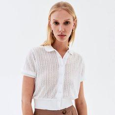 Reserved - Bluzka z ażurowym splotem - Biały