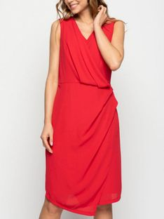 Wizytowa czerwona asymetryczna sukienka Bialcon