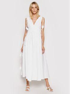 Tory Burch Sukienka letnia Smocked 81578 Biały Regular Fit