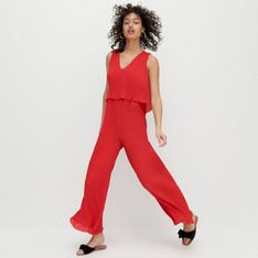 Reserved - Kombinezon z plisowanej tkaniny - Czerwony