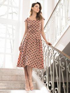Różowa sukienka z tafty w grochy Potis & Verso FLAMMA