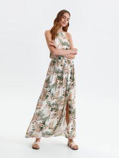 Długa sukienka w kwiaty, z dekoltem typu halter