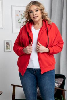 Bluza dresowa zapinana z kapturem HIACYNTA czerwona PROMOCJA