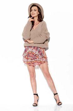 Zwiewna Wzorzysta Mini Spódnica z Jedwabiem - Druk 19
