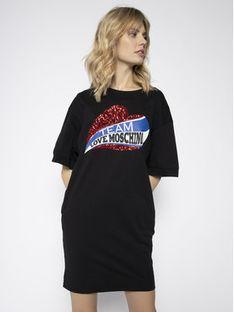 LOVE MOSCHINO Sukienka codzienna W5B4002M 3876 Czarny Regular Fit