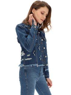Kurtka jeansowa z perełkami Lefties